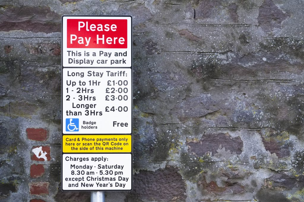 Free parking for those with a blue badge
