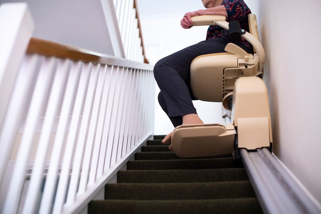 This image has an empty alt attribute; its file name is Stairlift-Straight-Stairlift-1024x683.jpeg